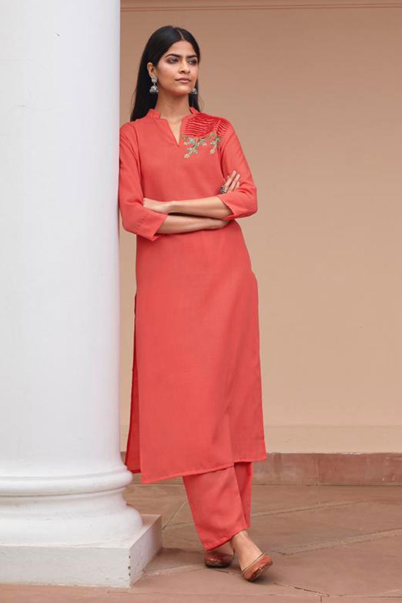 Embroidered Peach Color Festive Wear Redymade Kurti With Bottom