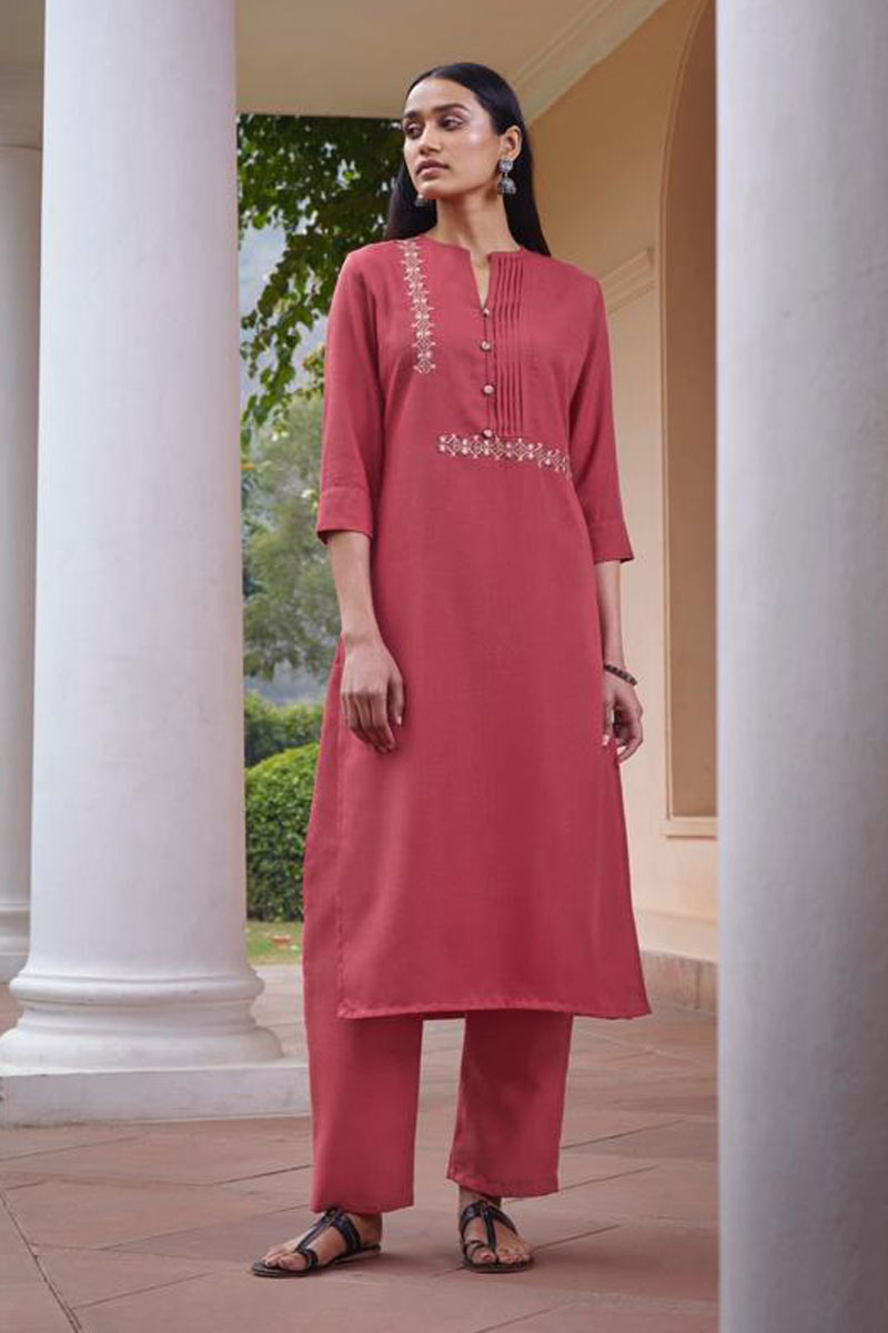 Party Wear Pink Color Embroidered Redymade Kurti With Bottom