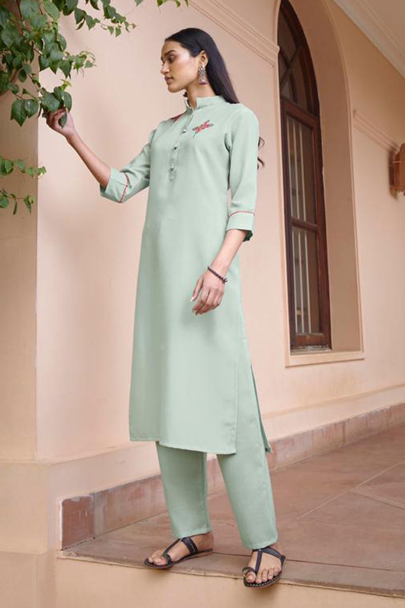 Light Cyan Color Embroidered Daily Wear Redymade Kurti With Bottom