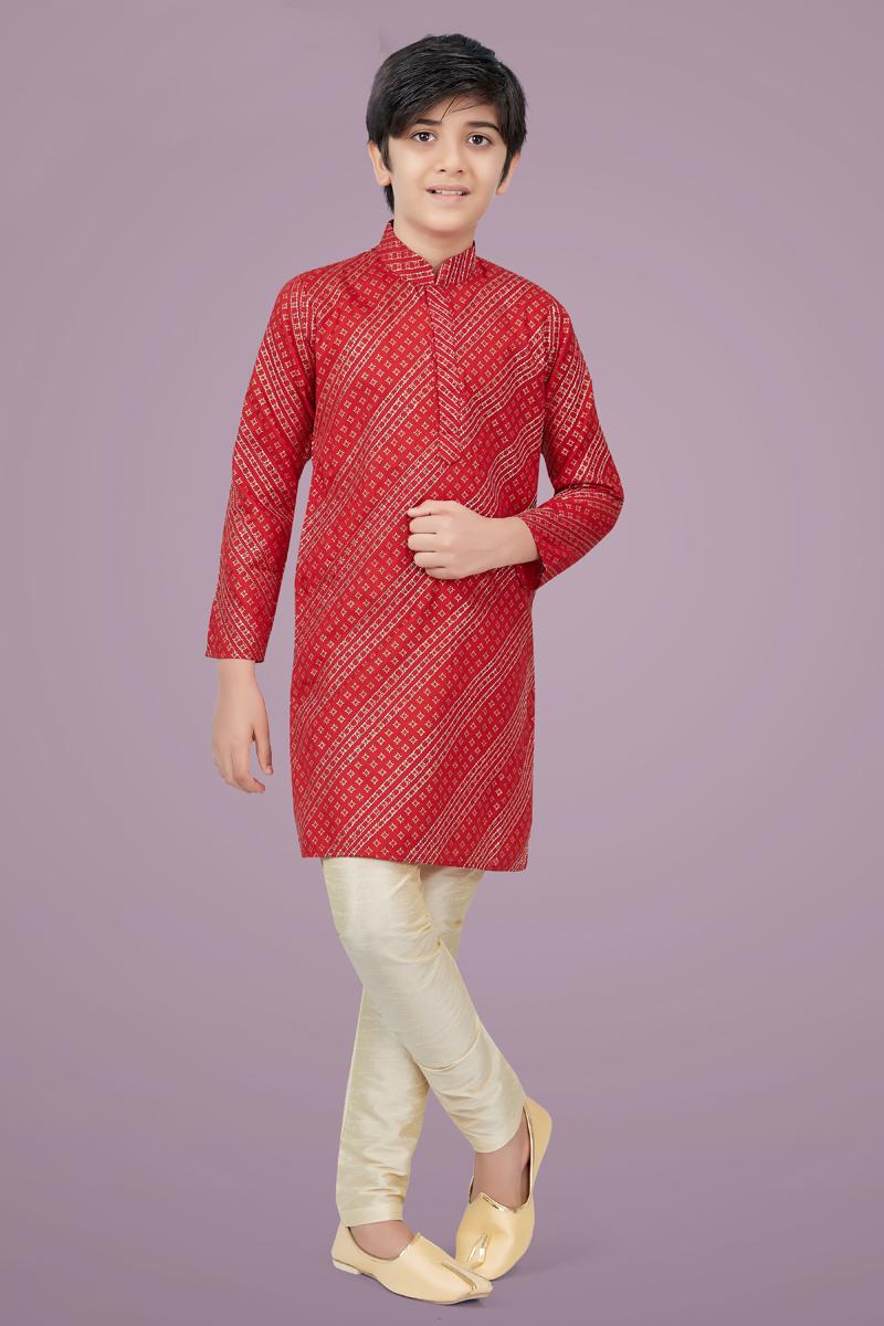 Red Color Cotton Silk Fabric Function Wear Fancy Kurta Pyjama For Kids Wear