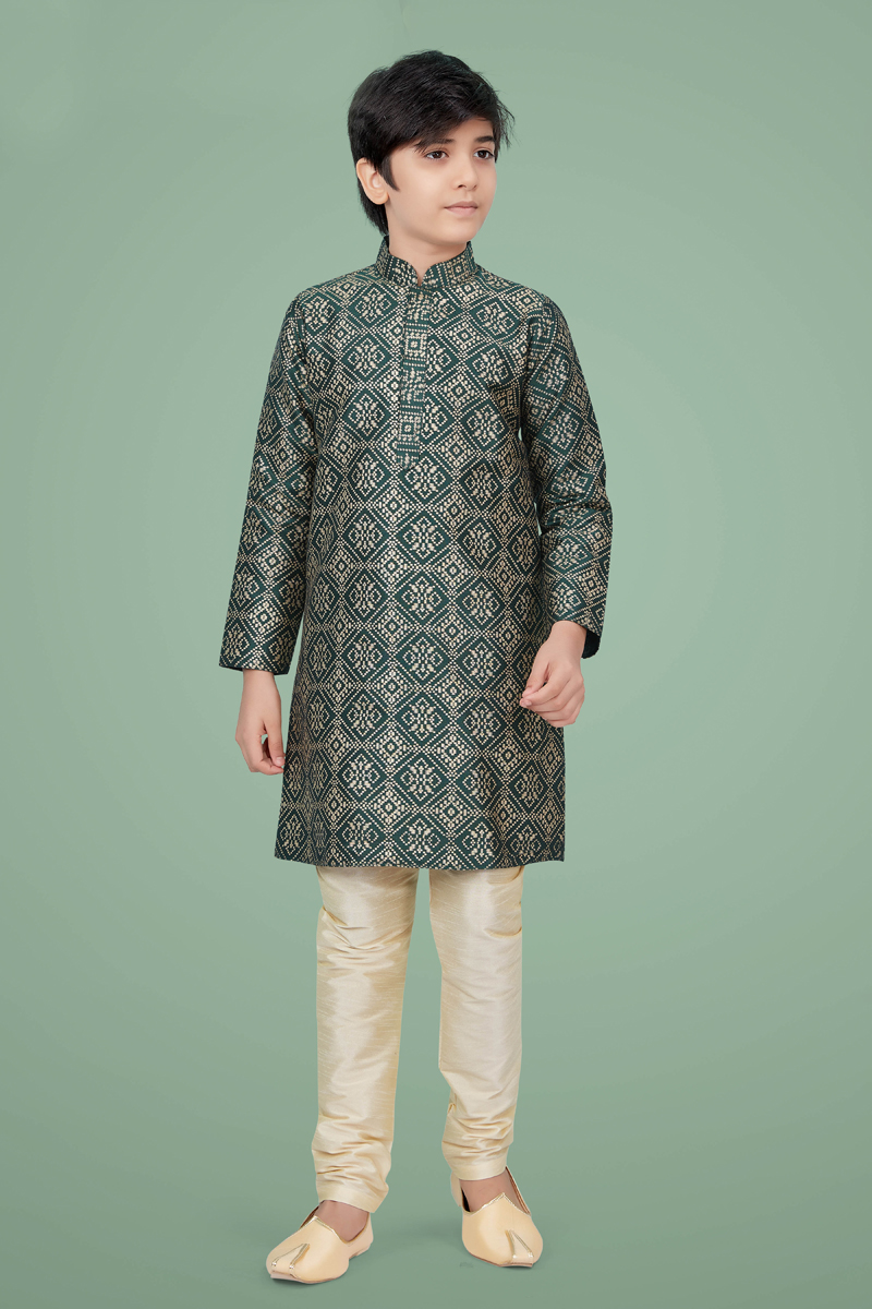 Dark Green Color Art Silk Fabric Sangeet Wear Trendy Kurta Pyjama For Kids Wear