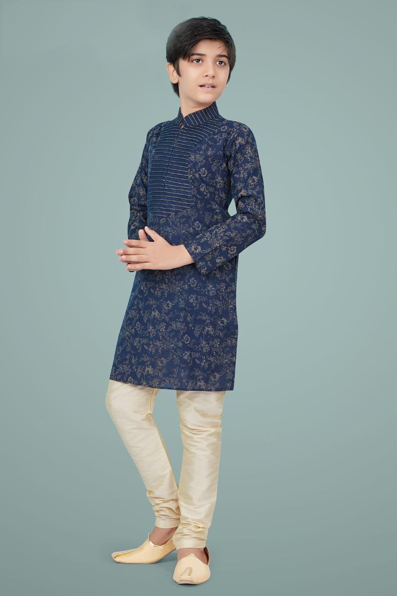 Navy Blue Color Cotton Silk Fabric Wedding Wear Designer Kurta Pyjama For Kids Wear