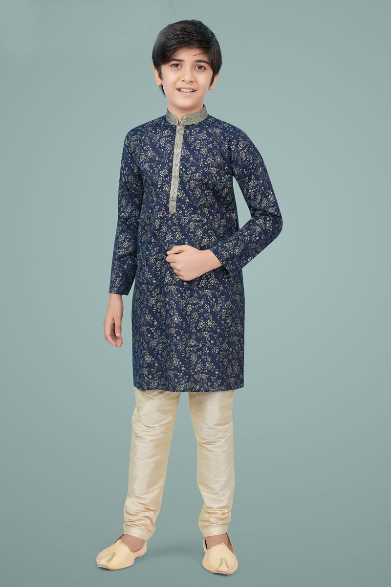 Navy Blue Color Cotton Silk Fabric Reception Wear Fancy Kurta Pyjama For Kids Wear