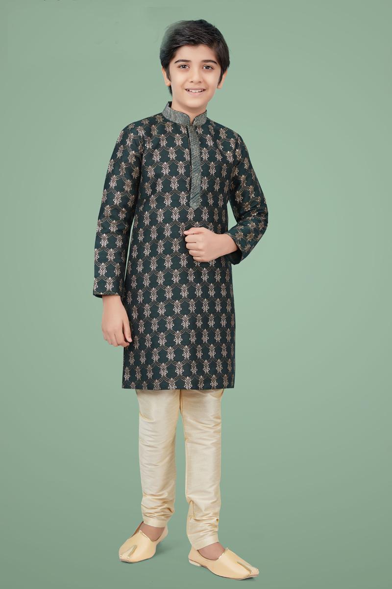 Dark Green Color Art Silk Fabric Function Wear Stylish Kurta Pyjama For Kids Wear