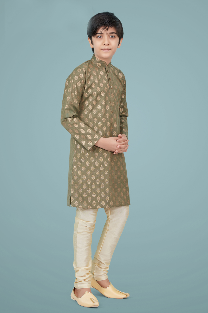 Cream Color Cotton Silk Fabric Festive Wear Trendy Kurta Pyjama For Kids Wear