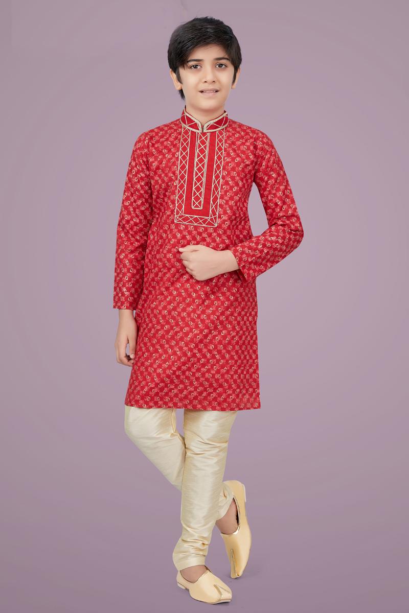 Red Color Cotton Silk Fabric Sangeet Wear Designer Kurta Pyjama For Kids Wear