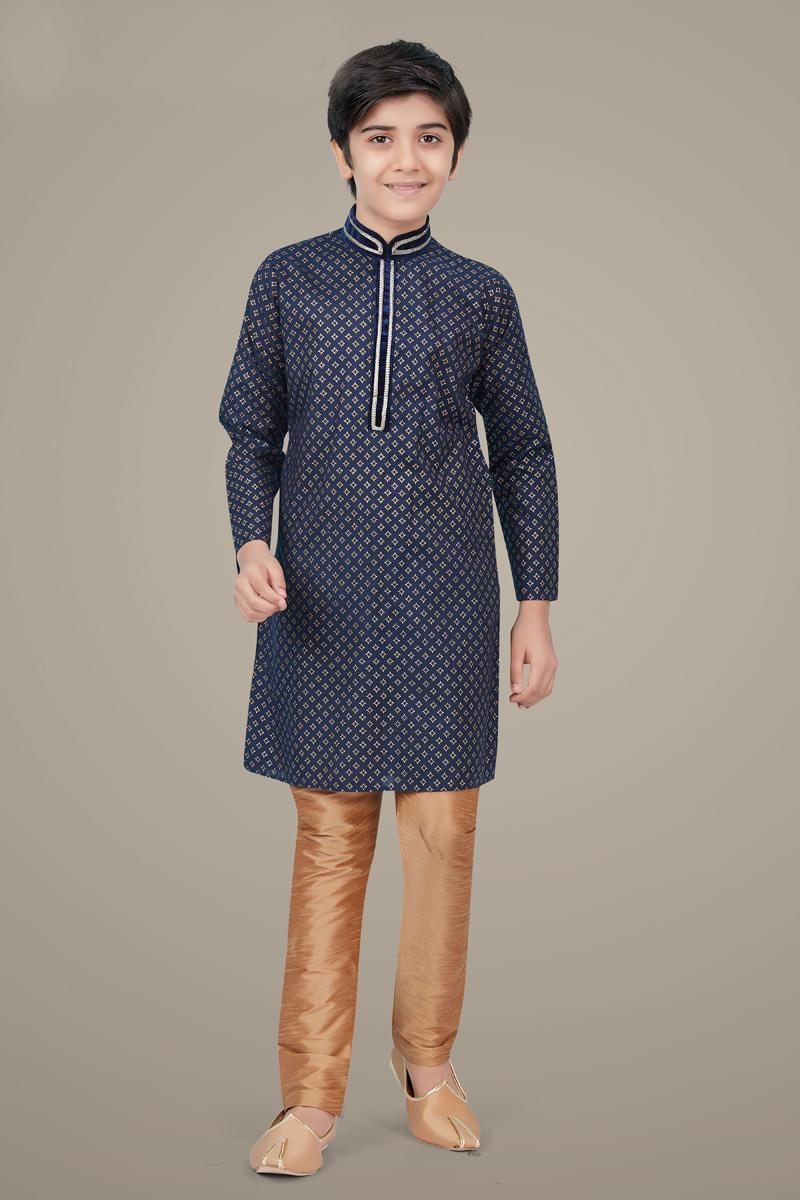 Navy Blue Color Cotton Silk Fabric Function Wear Trendy Kurta Pyjama For Kids Wear