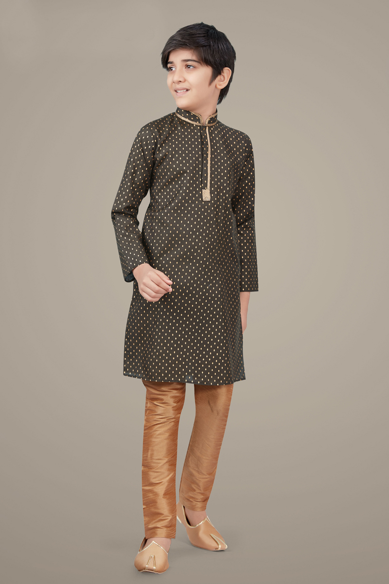 Dark Beige Color Cotton Silk Fabric Festive Wear Designer Kurta Pyjama For Kids Wear