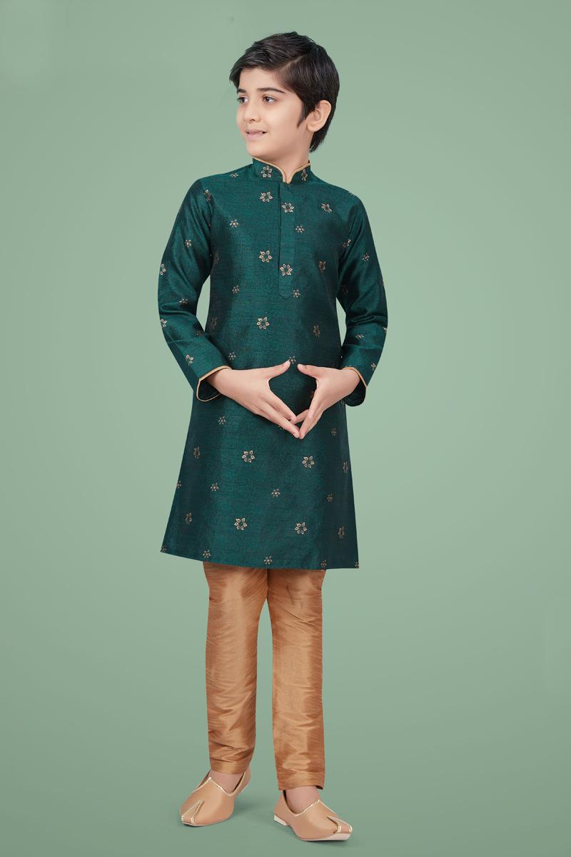 Dark Green Color Art Silk Fabric Sangeet Wear Fancy Kurta Pyjama For Kids Wear
