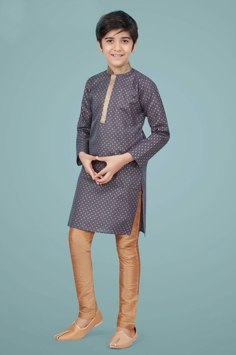 Grey Color Cotton Silk Fabric Wedding Wear Stylish Kurta Pyjama For Kids Wear