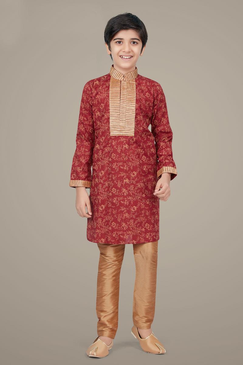 Maroon Color Cotton Silk Fabric Function Wear Designer Kurta Pyjama For Kids Wear