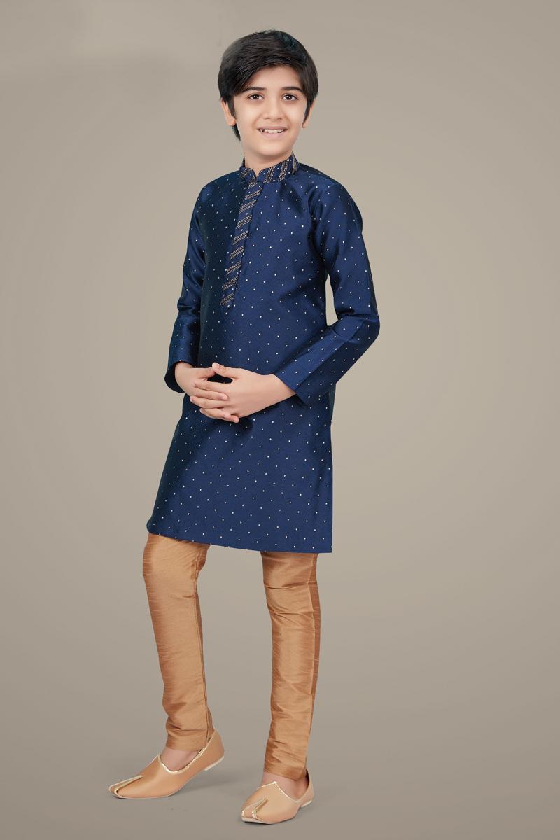 Navy Blue Color Jacquard Fabric Festive Wear Fancy Kurta Pyjama For Kids Wear