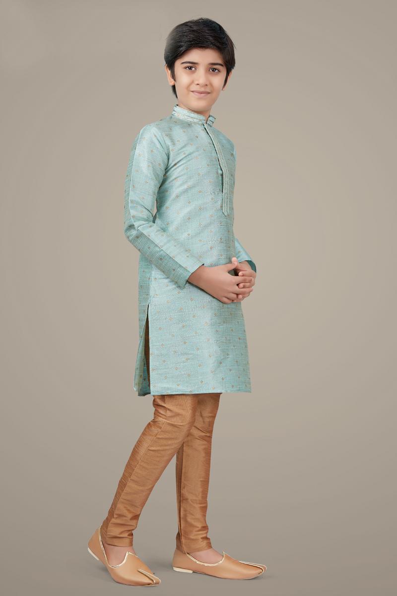 Light Cyan Color Art Silk Fabric Wedding Wear Trendy Kurta Pyjama For Kids Wear