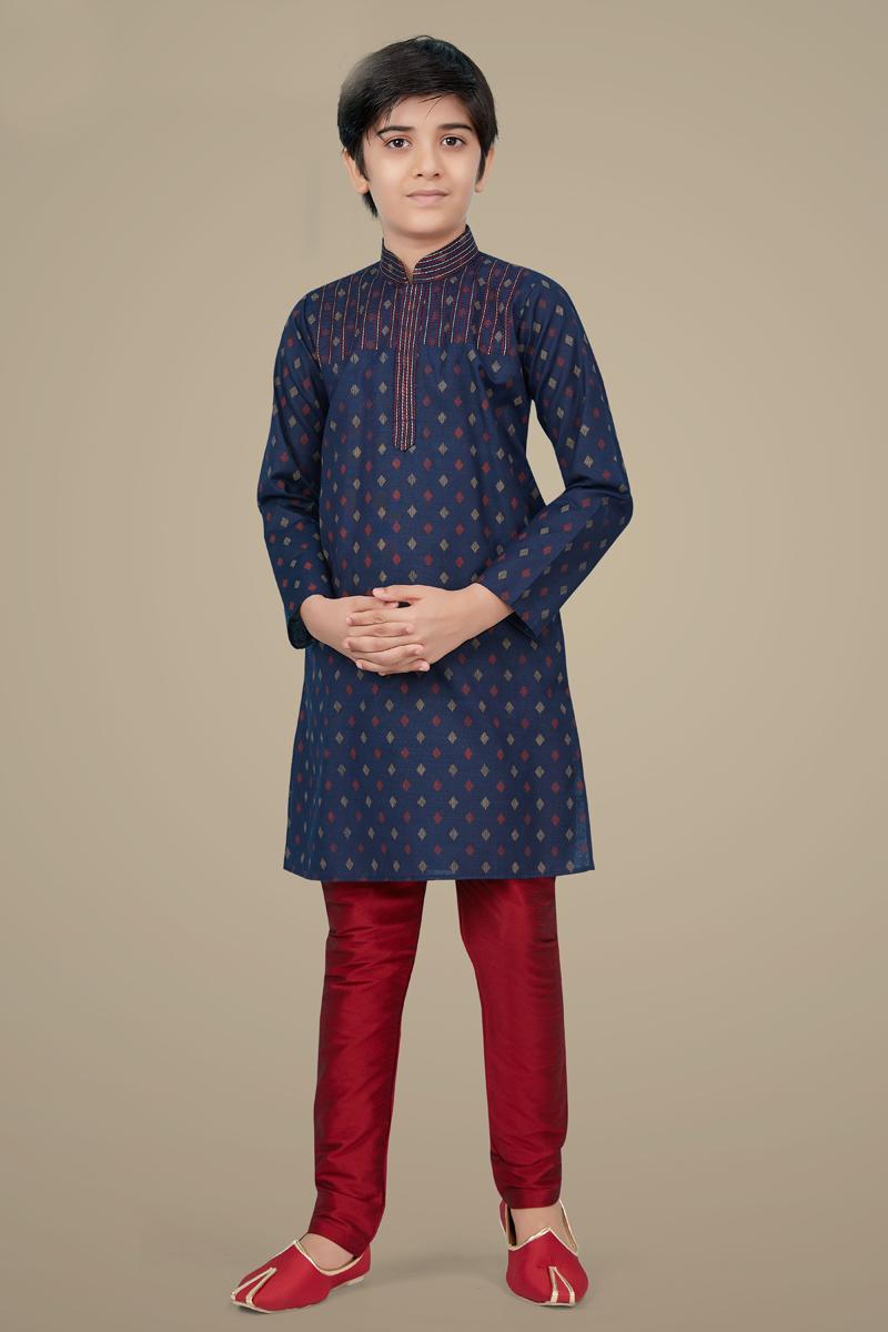 Navy Blue Color Cotton Silk Fabric Reception Wear Designer Kurta Pyjama For Kids Wear