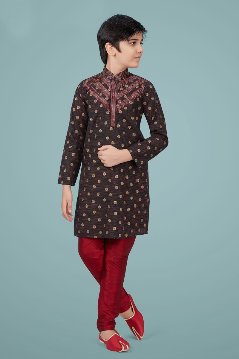 Brown Color Cotton Silk Fabric Function Wear Fancy Kurta Pyjama For Kids Wear