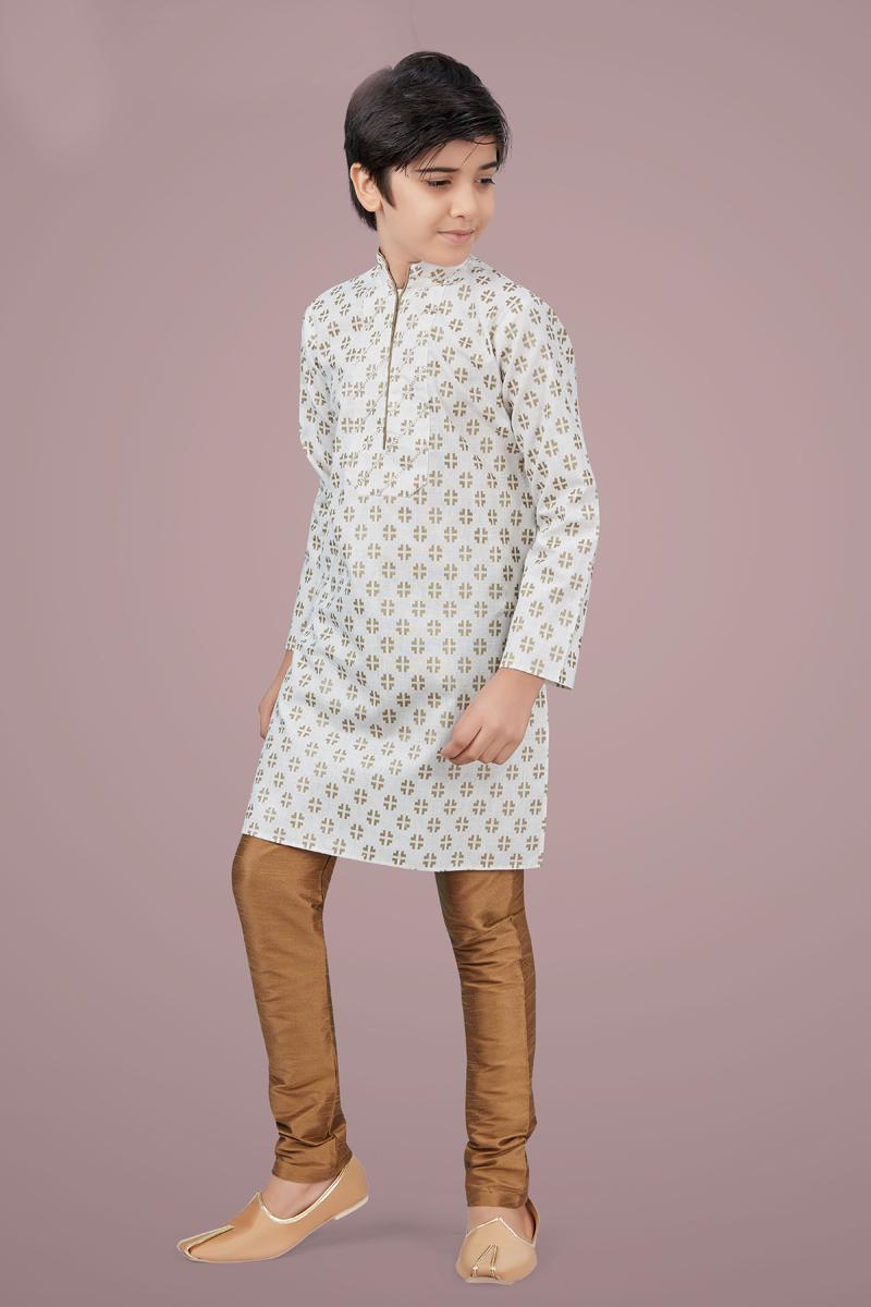 Off White Color Cotton Silk Fabric Festive Wear Stylish Kurta Pyjama For Kids Wear