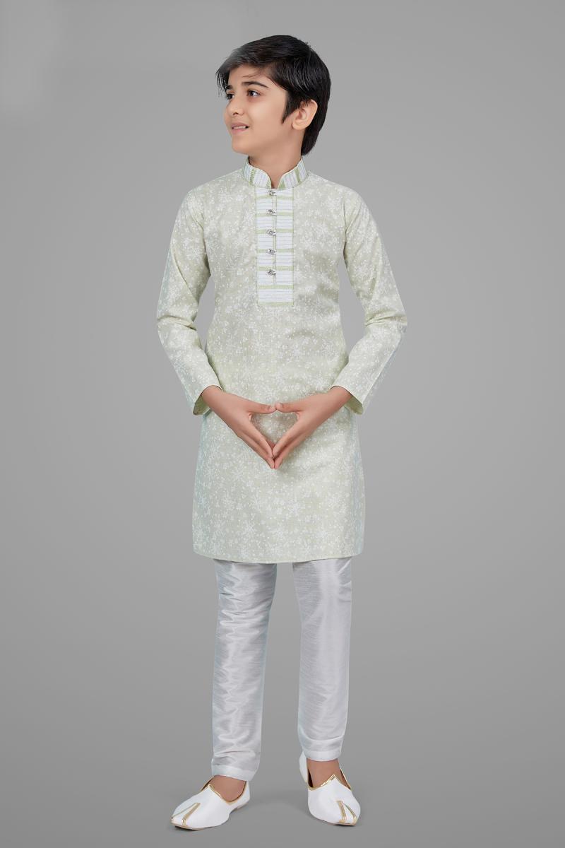 Beige Color Cotton Silk Fabric Wedding Wear Designer Kurta Pyjama For Kids Wear