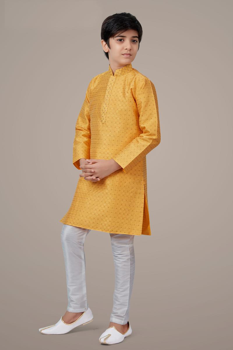 Yellow Color Jacquard Fabric Reception Wear Fancy Kurta Pyjama For Kids Wear