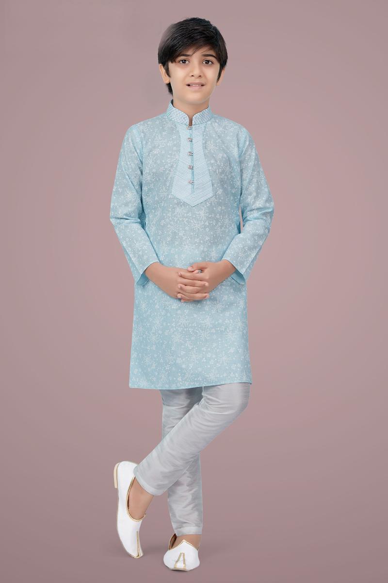 Sky Blue Color Cotton Silk Fabric Function Wear Stylish Kurta Pyjama For Kids Wear