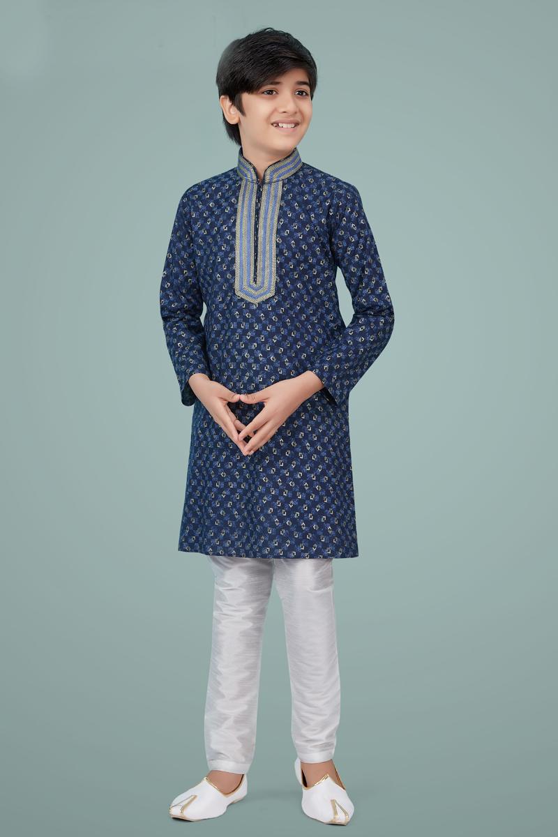 Navy Blue Color Cotton Silk Fabric Festive Wear Trendy Kurta Pyjama For Kids Wear
