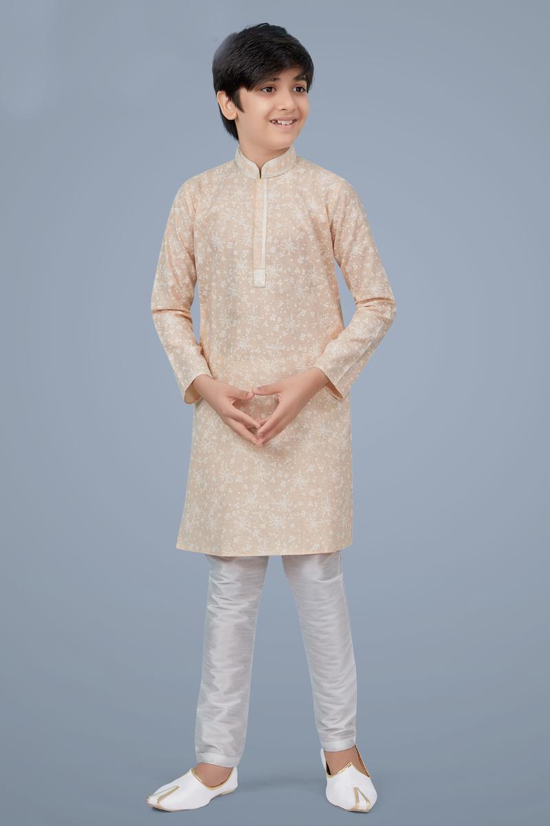 Peach Color Cotton Silk Fabric Sangeet Wear Designer Kurta Pyjama For Kids Wear