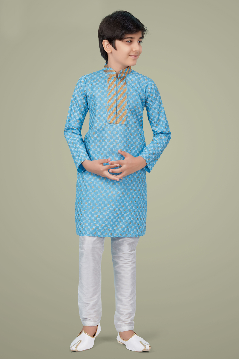 Sky Blue Color Cotton Silk Fabric Wedding Wear Fancy Kurta Pyjama For Kids Wear