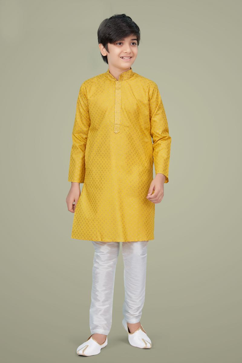 Yellow Color Cotton Silk Fabric Reception Wear Stylish Kurta Pyjama For Kids Wear