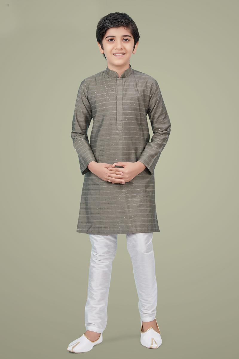 Grey Color Art Silk Fabric Function Wear Trendy Kurta Pyjama For Kids Wear