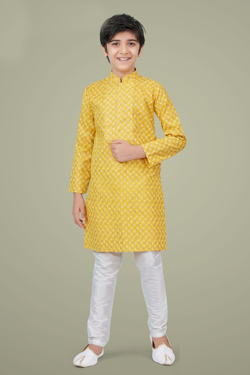Yellow Color Cotton Silk Fabric Festive Wear Designer Kurta Pyjama For Kids Wear