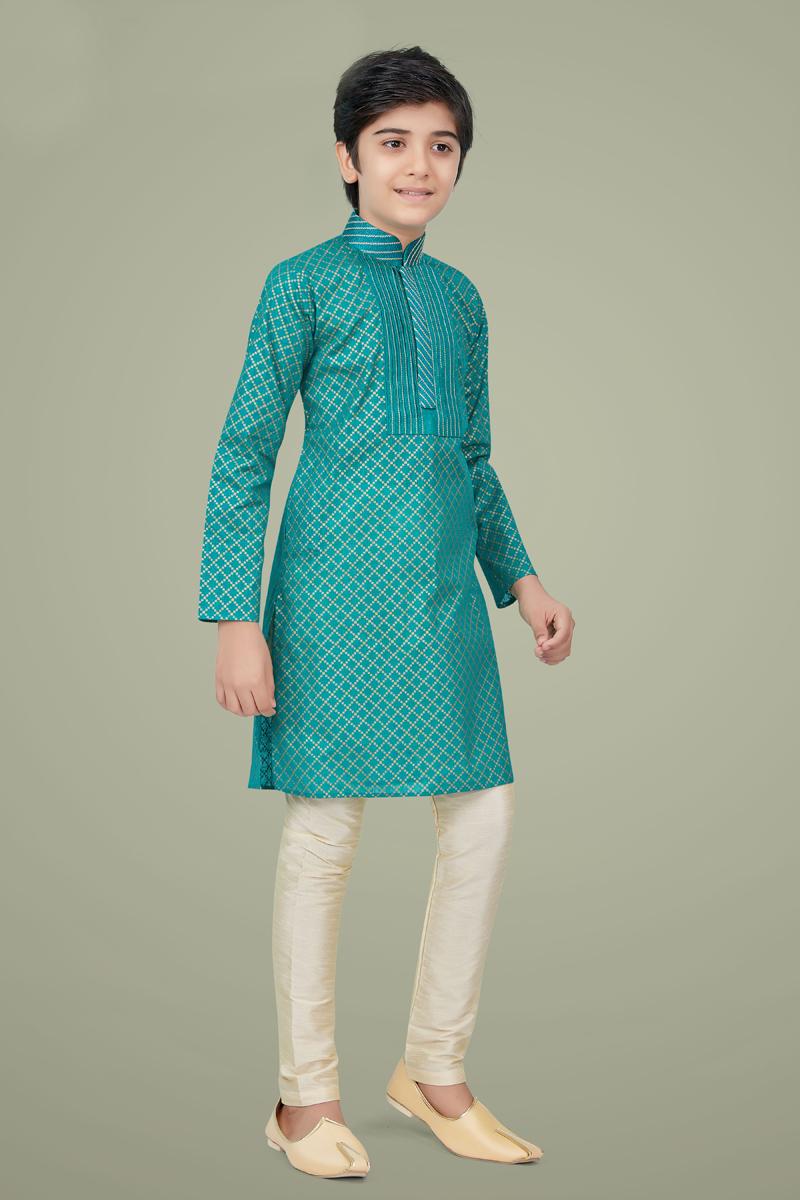 Cyan Color Cotton Silk Fabric Wedding Wear Stylish Kurta Pyjama For Kids Wear