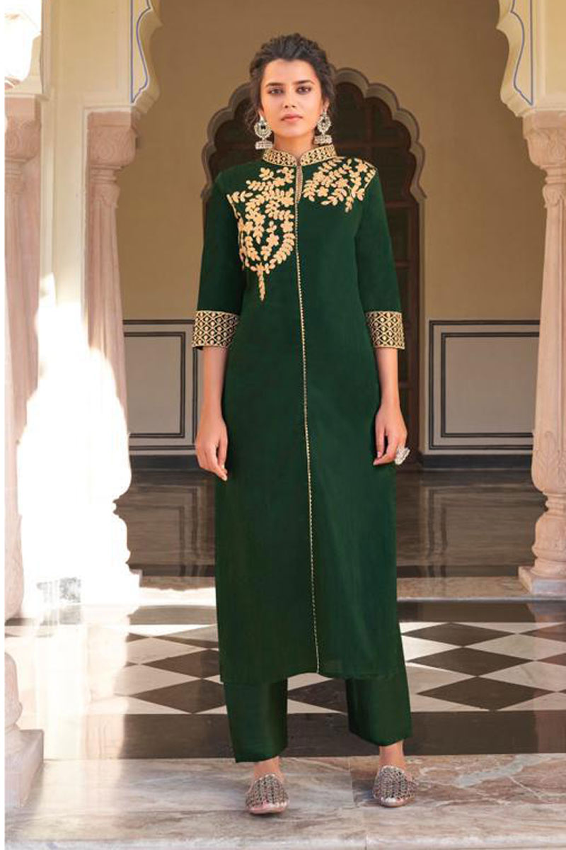 Dark Green Color Viscose Fabric Function Wear Redymade Kurti With Bottom