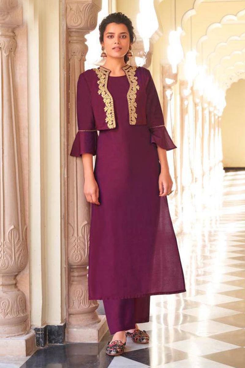 Viscose Fabric Purple Color Festive Wear Redymade Kurti With Bottom
