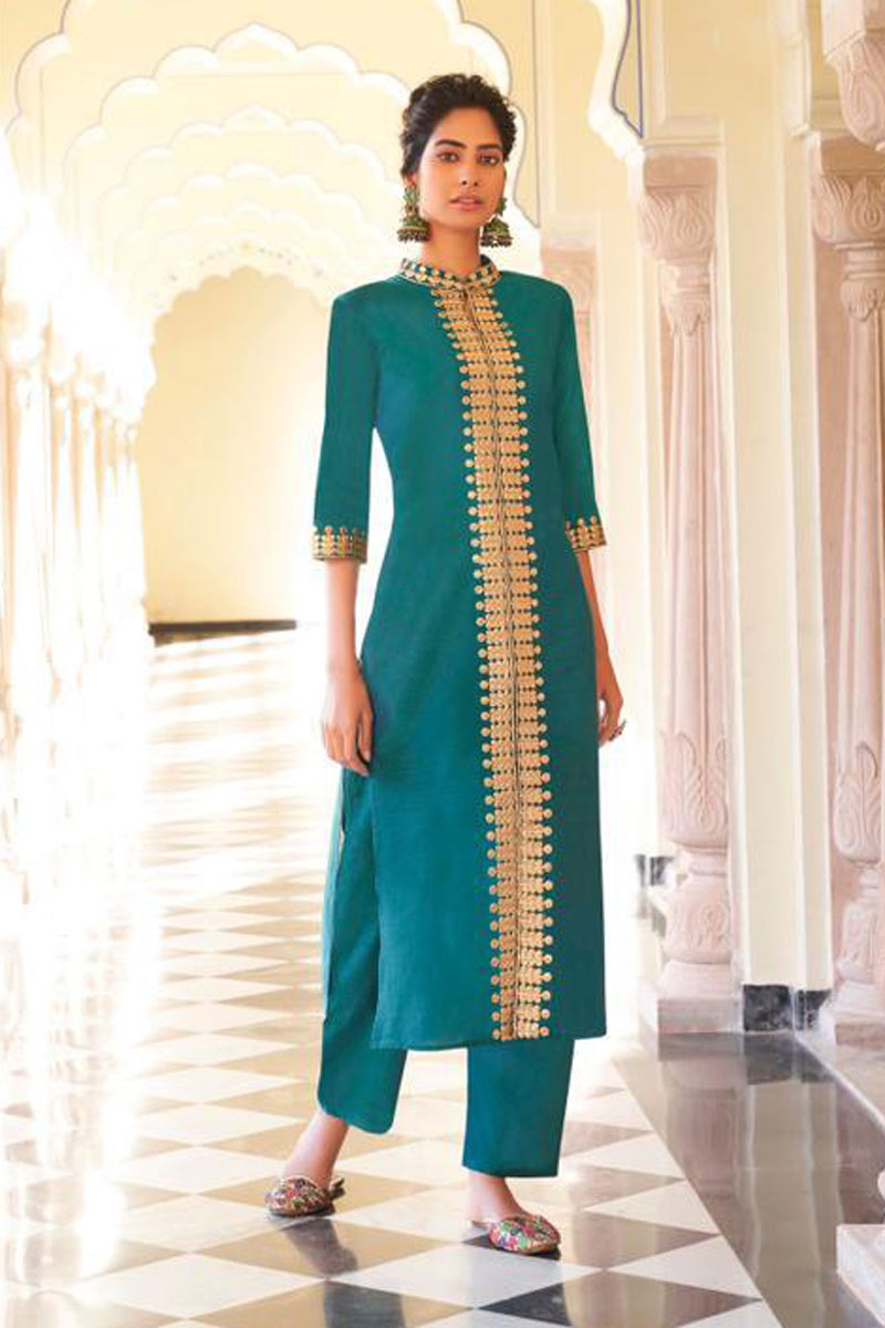 Party Wear Cyan Color Viscose Fabric Redymade Kurti With Bottom