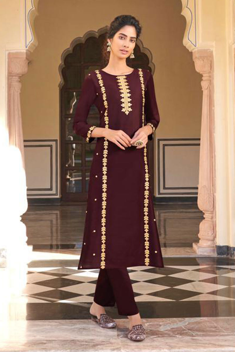 Wine Color Viscose Fabric Daily Wear Redymade Kurti With Bottom