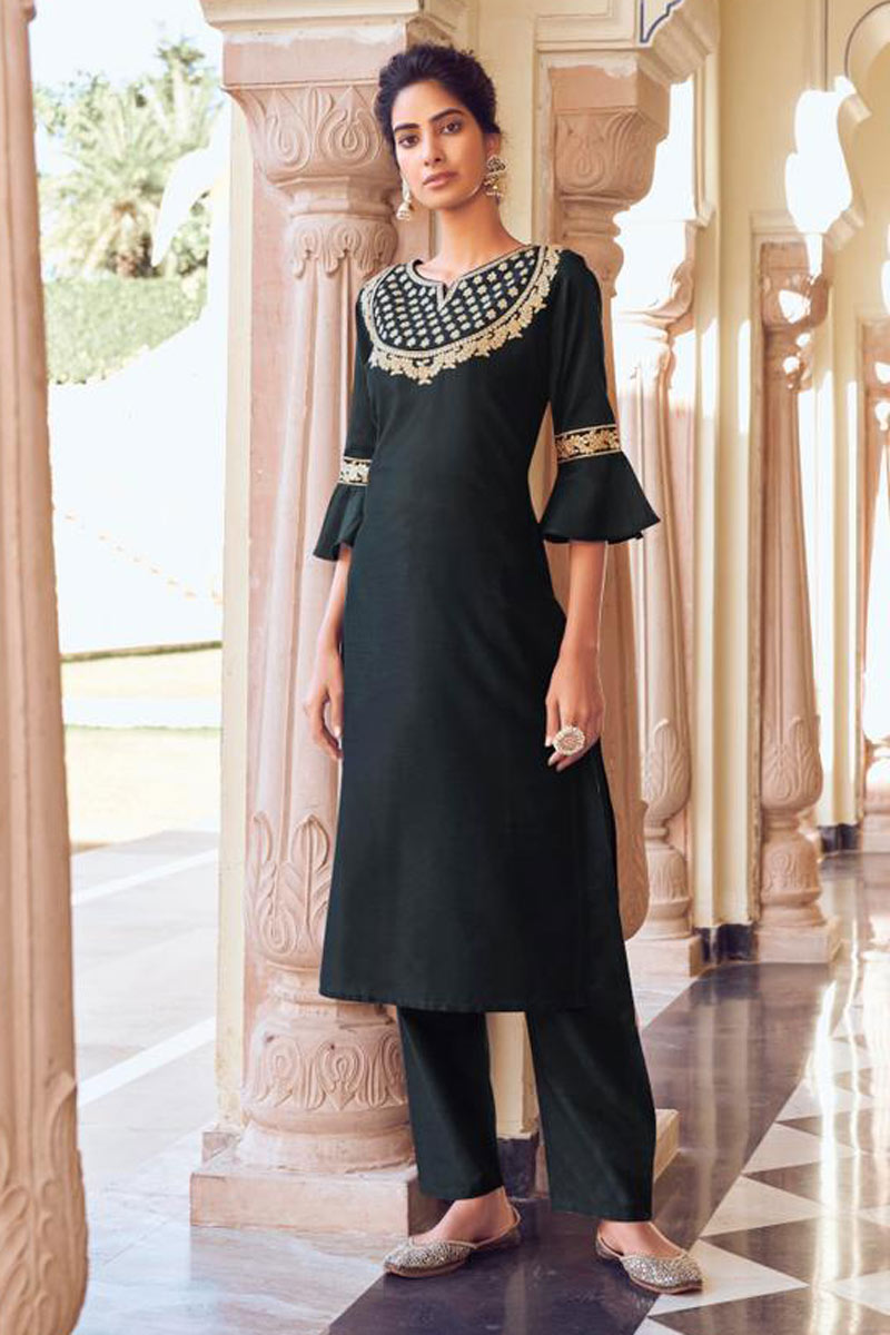 Viscose Fabric Black Color Casual Wear Redymade Kurti With Bottom