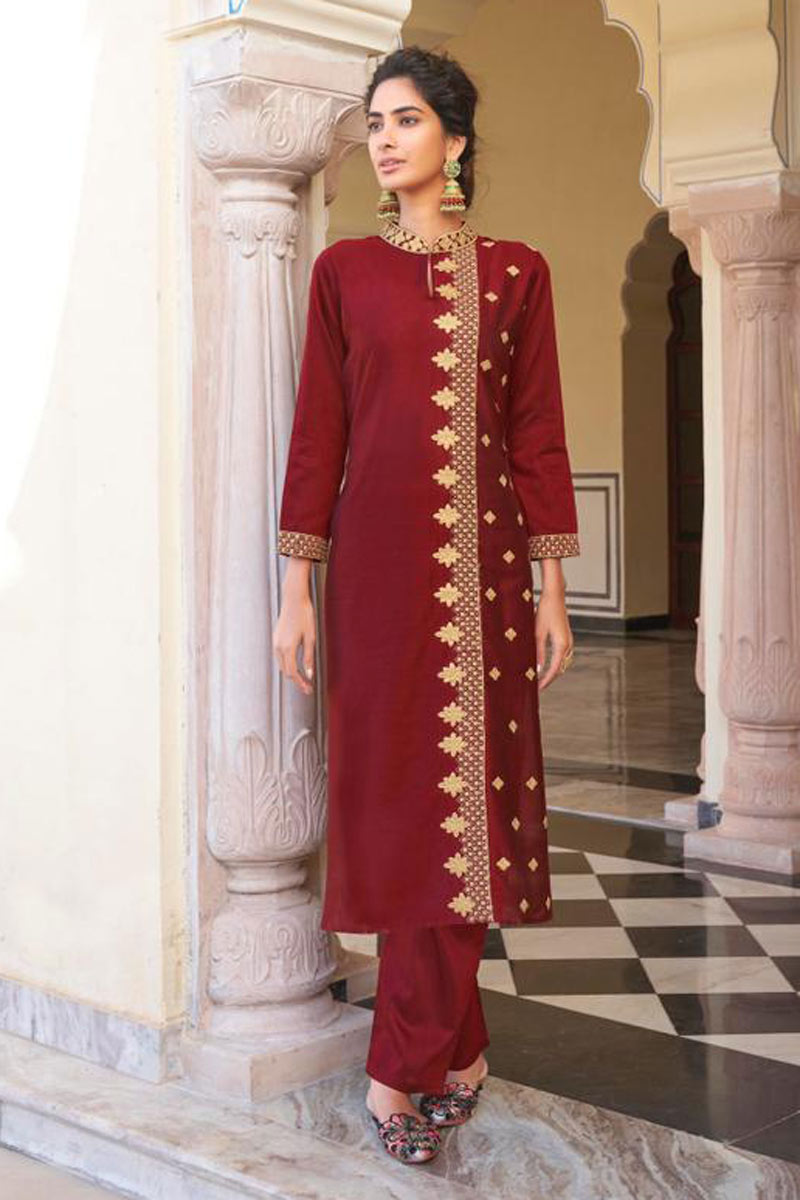 Office Wear Maroon Color Viscose Fabric Redymade Kurti With Bottom
