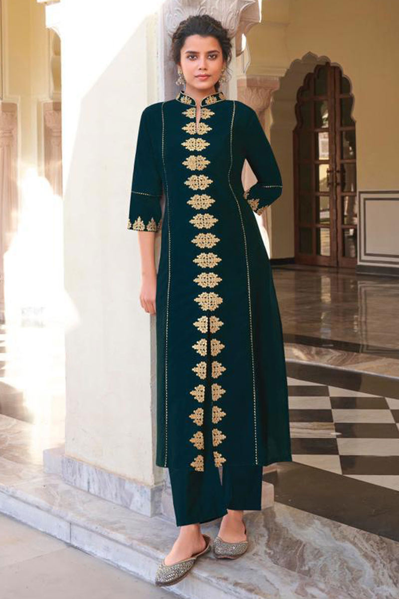 Teal Color Embroidered Function Wear Redymade Kurti With Bottom