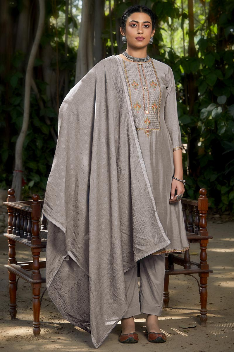 Grey Color Party Style Embroidered Viscose Fabric Salwar Kameez