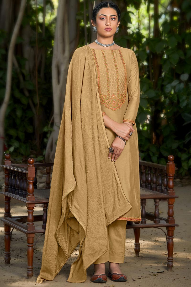 Viscose Fabric Party Style Cream Color Embroidered Salwar Suit