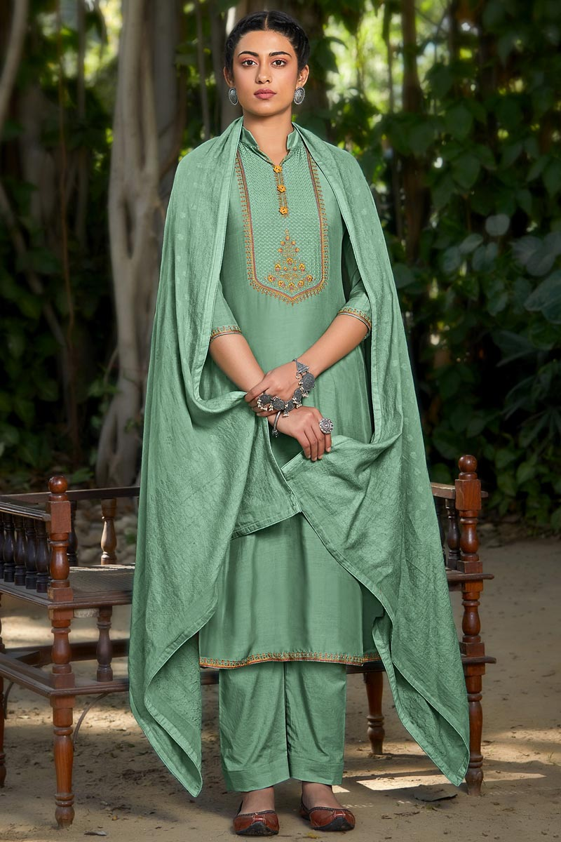 Sea Green Color Viscose Fabric Party Style Embroidered Salwar Kameez