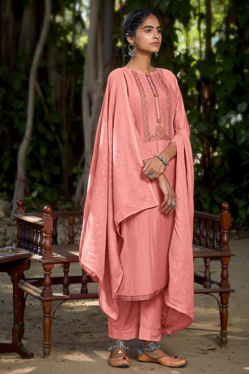 Viscose Fabric Party Style Embroidered Salwar Kameez In Pink Color