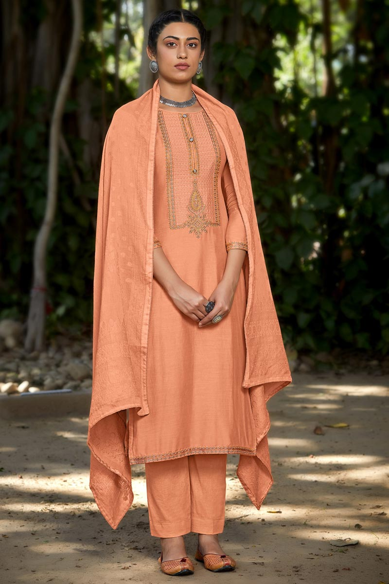 Party Style Viscose Fabric Peach Color Embroidered Salwar Suit