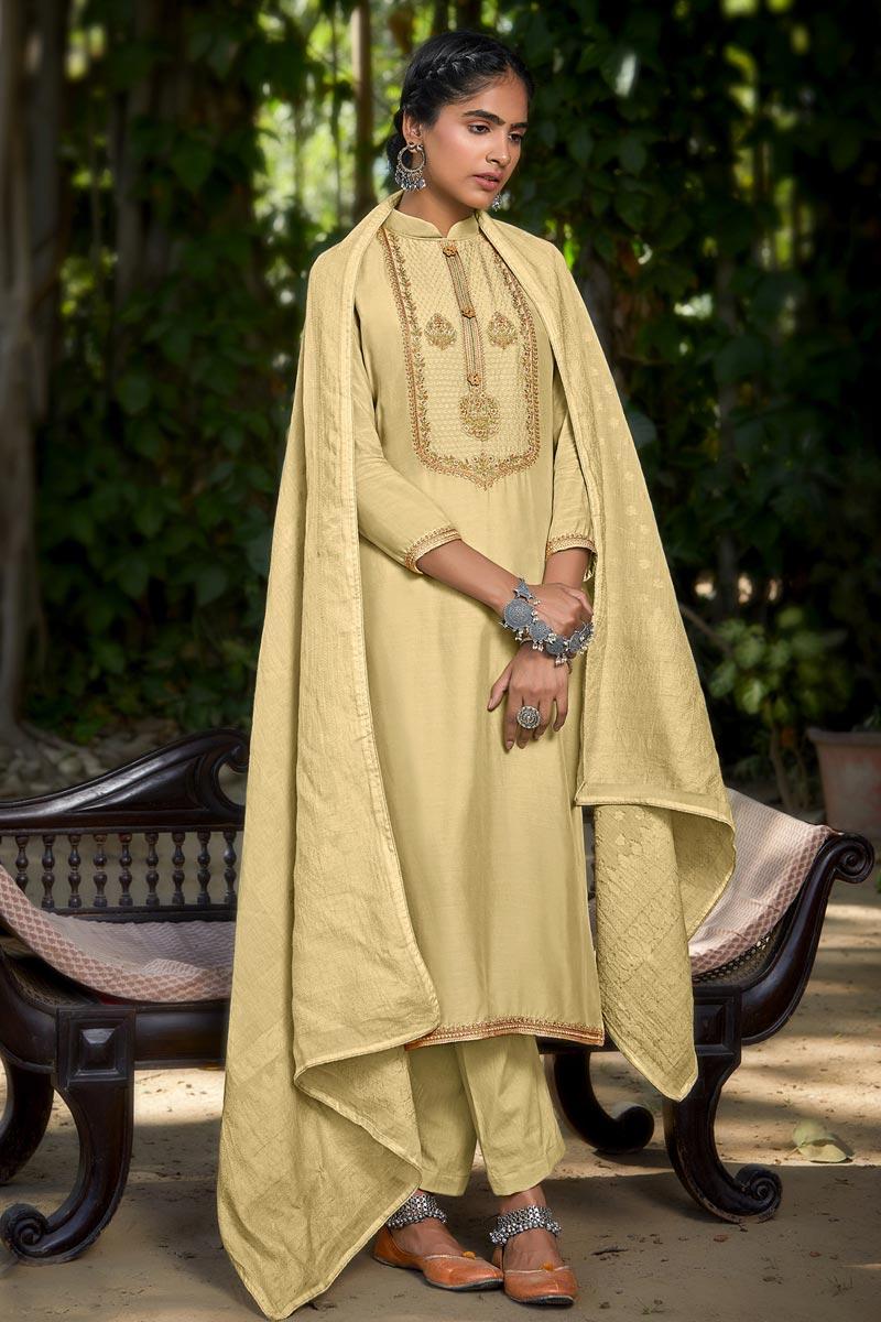 Beige Color Viscose Fabric Fancy Embroidered Function Wear Salwar Kameez