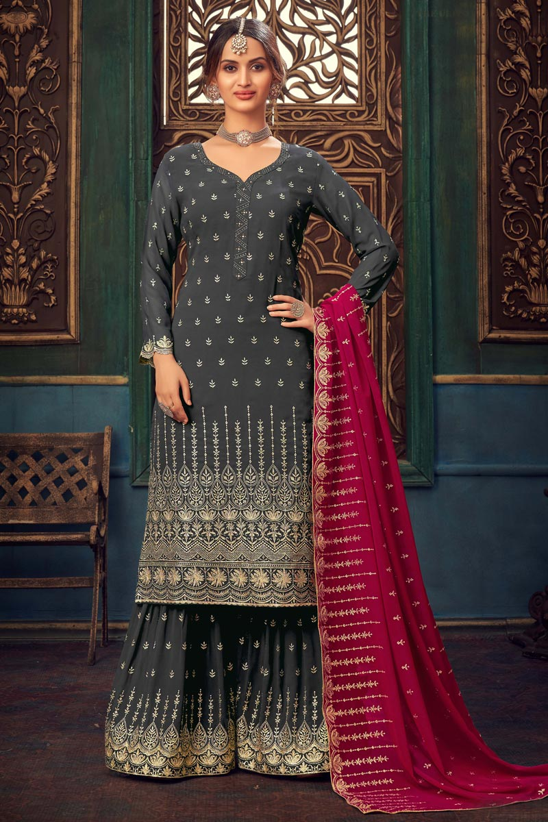 Grey Color Party Style Embroidered Georgette Fabric Sharara Suit