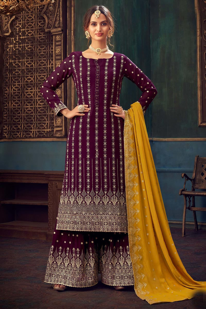 Purple Color Party Style Embroidered Georgette Fabric Sharara Dress