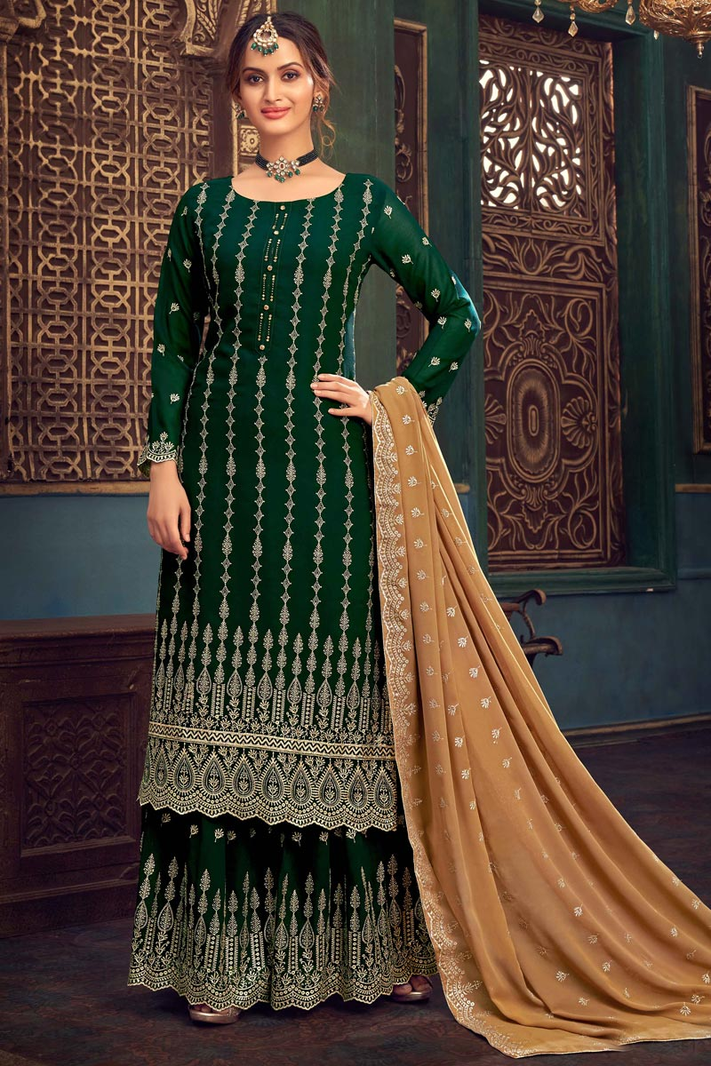 Georgette Fabric Party Style Dark Green Color Embroidered Sharara Suit