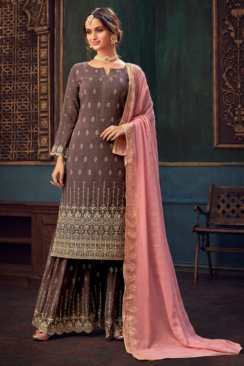 Wine Color Georgette Fabric Party Style Embroidered Sharara Dress