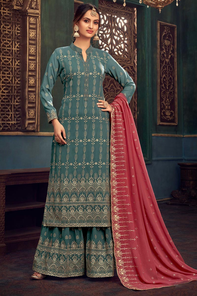 Georgette Fabric Party Style Embroidered Sharara Suit In Teal Color