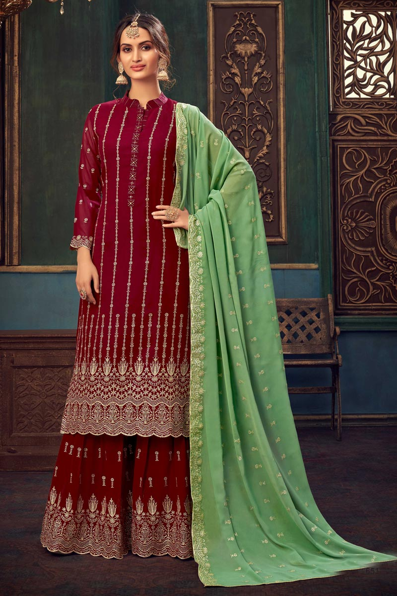 Party Style Georgette Fabric Maroon Color Embroidered Sharara Suit