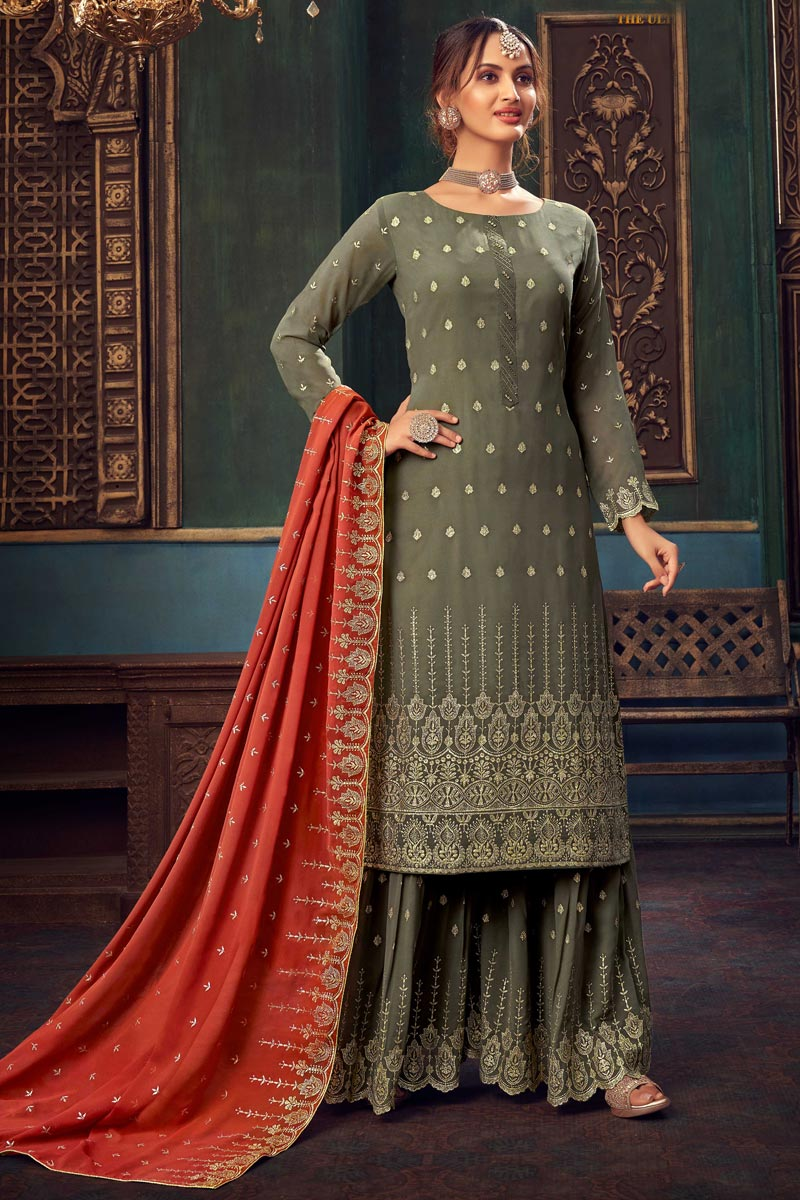 Dark Beige Color Georgette Fabric Fancy Embroidered Function Wear Sharara Dress